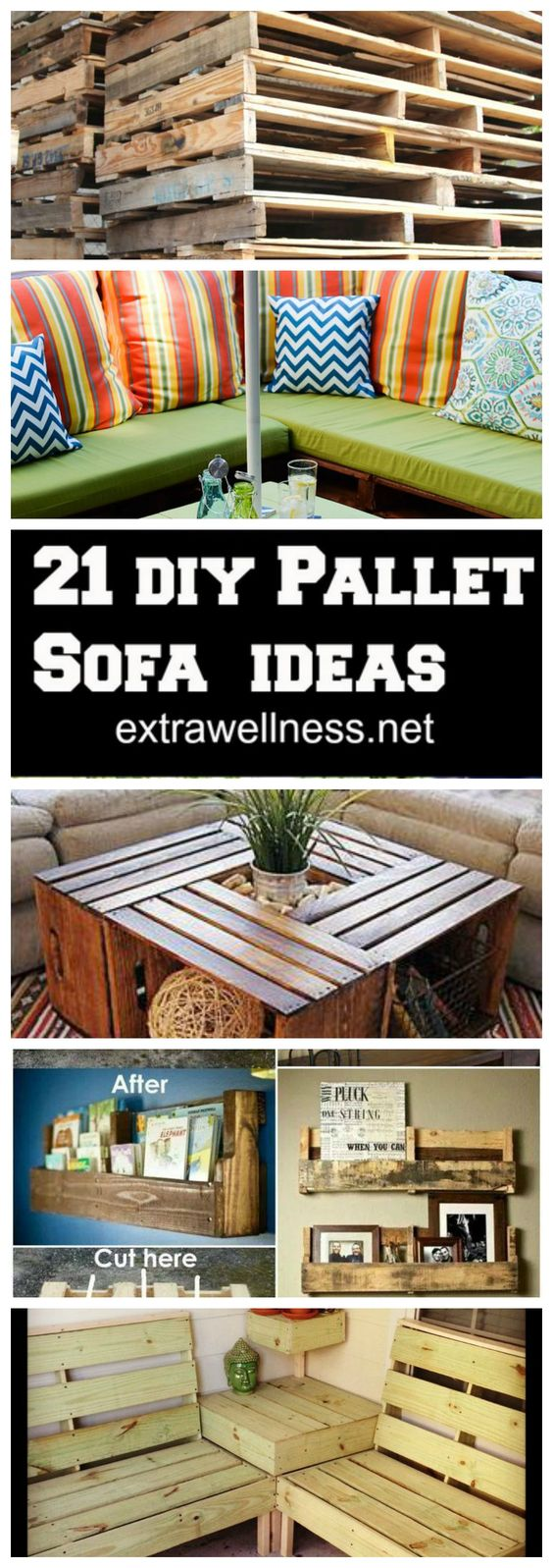 21 Creative DIY Pallet Furniture Hacks :: upcycle your old Pallet into several cozy sofa couch ideas that will help fill your home and yard with style and personality